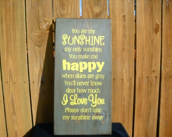 wooden sign, you are my sunshine, subway art, wall decor,  wall hanging