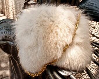 Vintage Off White Fox Handbag