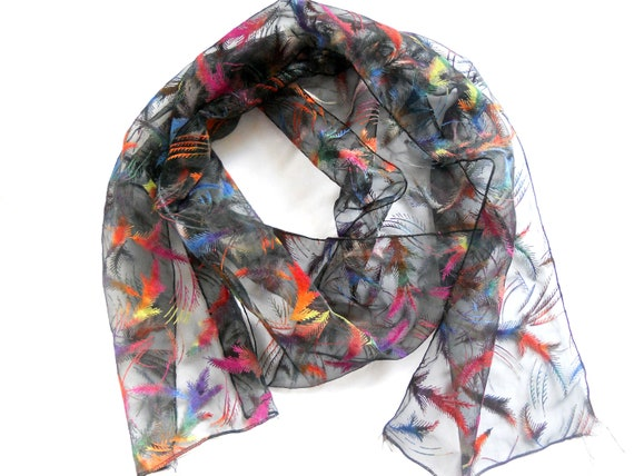Vintage black lucid scarf with bright colorful neon feathers from 1980s Vintage accessory Gift for her