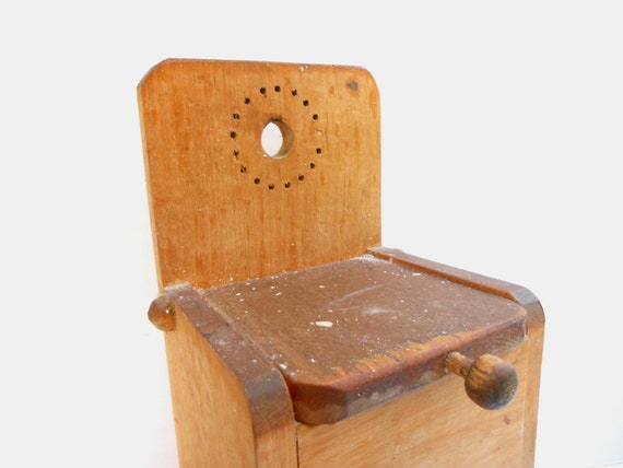 Vintage Rustic Wooden Salt Box with a lid Handmade Storage Piece Kitchen Organizer Farmhouse kitchen USSR era
