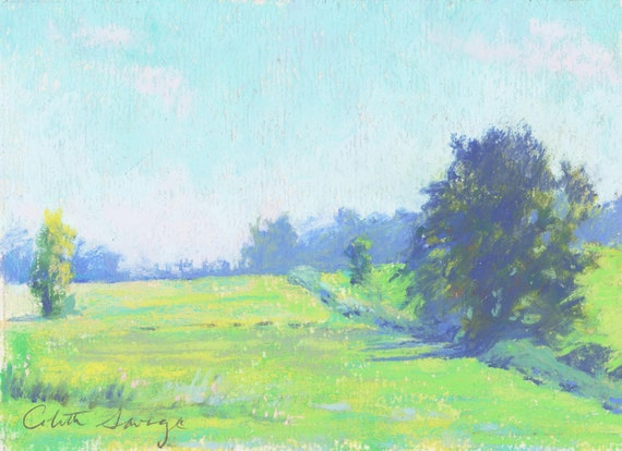 """Original Pastel Landscape Painting - """"Fields of Green """" by Colette Savage"""