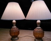 Amber Glass Vintage Table Lamps Pair