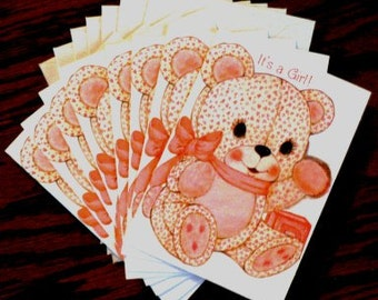 vintage cards ... IT'S A GIRL eight retro baby announcement Cards ...