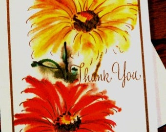 vintage cards ... THANK YOU Orange Yellow Floral CARD with envelope ...