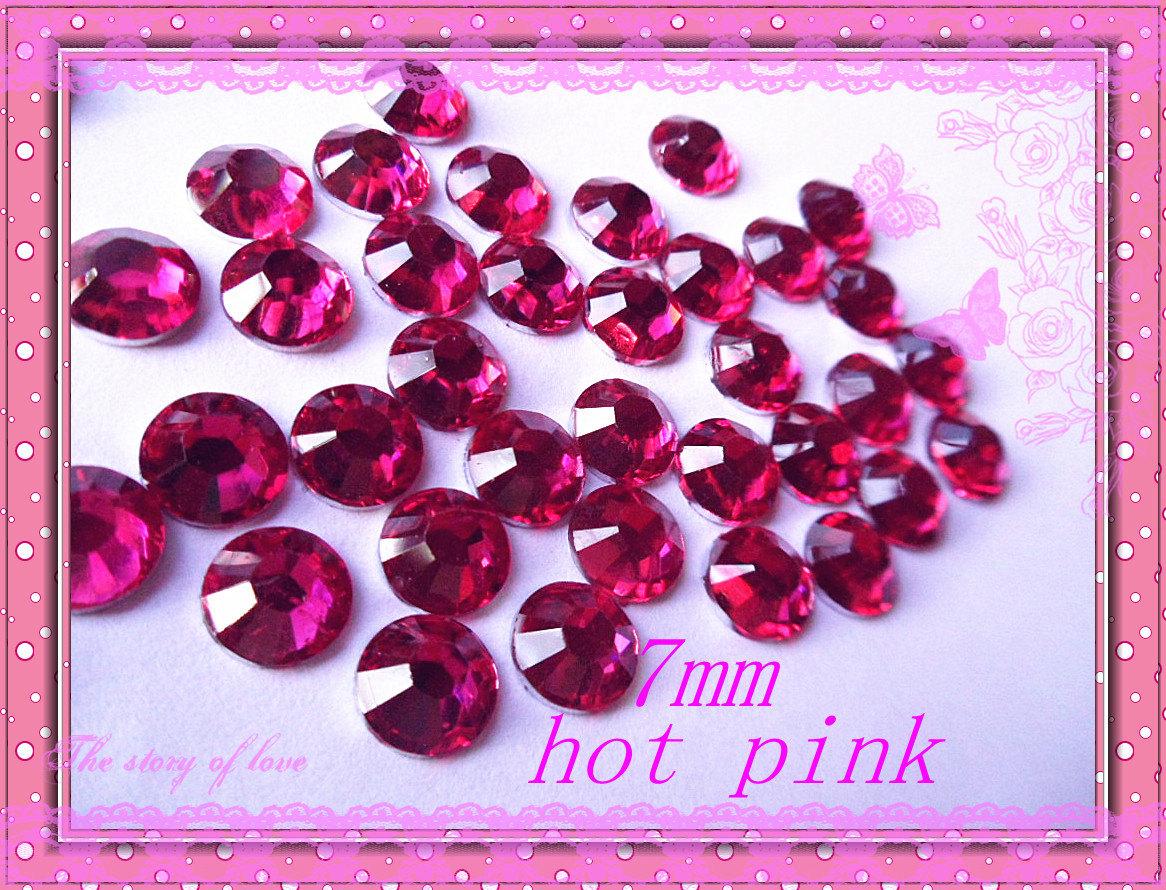 100pcs 7mm Hot pink flatback rhinestone cabochon