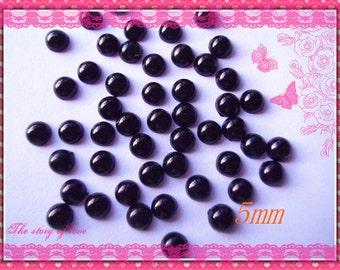 200pcs 5mm Black flatback half pearl deco cabochons