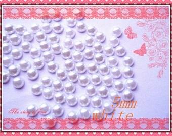 200pcs 5mm White flatback plastic half pearl deco cabochons
