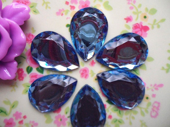 8pcs Light blue waterdrop cabochon acrylic rhinestone 18x25mm