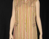 Vintage Shift Dress Striped Sleeveless Double Buttons Collar Pink Green  60s