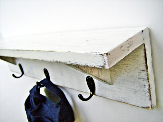 Items similar to wood wall shelf with hooks antique White wooden coat hooks