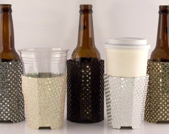 Beverage Insulators SET #10 Sequin Fabric #EcoFriendly PocketHuggie  #SoloCup Cold/Hot #Coffee #Brides #Weddings #Starbucks #TheKnot #Beer