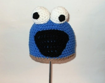 Cookie Blue Monster Hat. Beanie. (Any Sizes: Newborn to Adult). Please send the size.