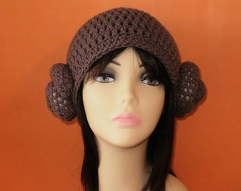 Crochet Pattern PDF Princess Leia Hat. Beanie. (All Sizes Included: Newborn to Adult). Permission to sell finished items.