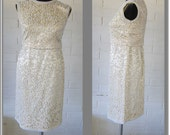 White Wedding Dress - Short Vintage Formal - Ivory Satin Shift with Separate Top - heavily beaded (Hong Kong)