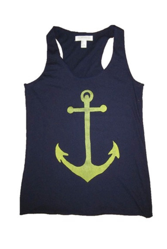 Women's ANCHOR racerback tank top- forever 21 size M (navy blue)
