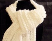 Brilliant White fuzzy scarf with tapered edge