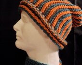 Peacock blue/Orange color block scarf and matching striped slouchy hat