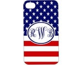 I Phone 4 COVERS Cases American Flag Monogrammed Red White Blue Patriotic Fourth of July Cell Phone Accessory
