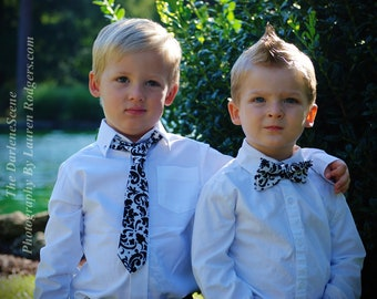 Black and white damask print neck tie for boys. Men's sizes also available.
