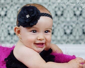Black Rhinestone Flower Polka Dot Elastic Headband. Flower Headband. Newborn Headband. Baby Headband. nfant Headband