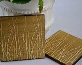 Modern grass design laser engraved maple wood coasters (set of 4)