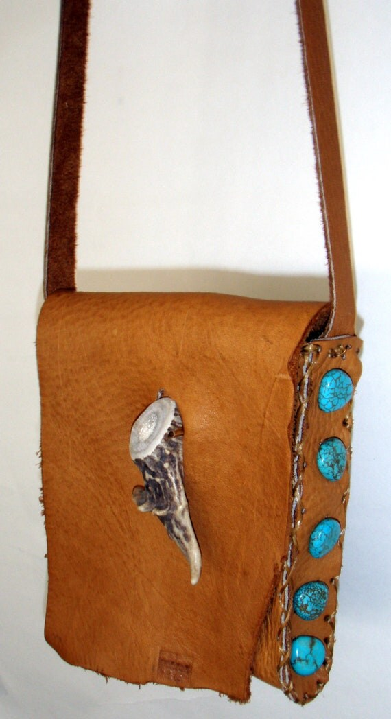 Leather Bag with Turquoise & Antler