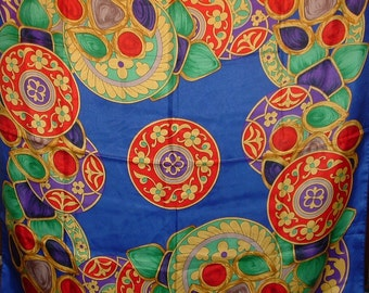 SALE.......Colorful Jeweltone Berkshire Scarf with Red Green Yellow Blue designs