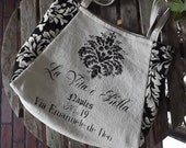 ARABELLA: handpainted Italian FEEDSACK TOTE - vintage Italian looking tote with black damask fabric by Eurocentrics