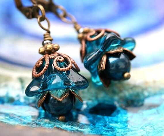Blue Flower Earrings, Indicolite Blue glass Earrings, Beaded floral earrings, Flower Jewelry, Woodland fairy gift by MayaHoney