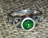 Vintage Celtic Knot sterling silver ring with green stone