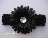 Black Crystal Daisy Flower Headband - Baby Flower Headband