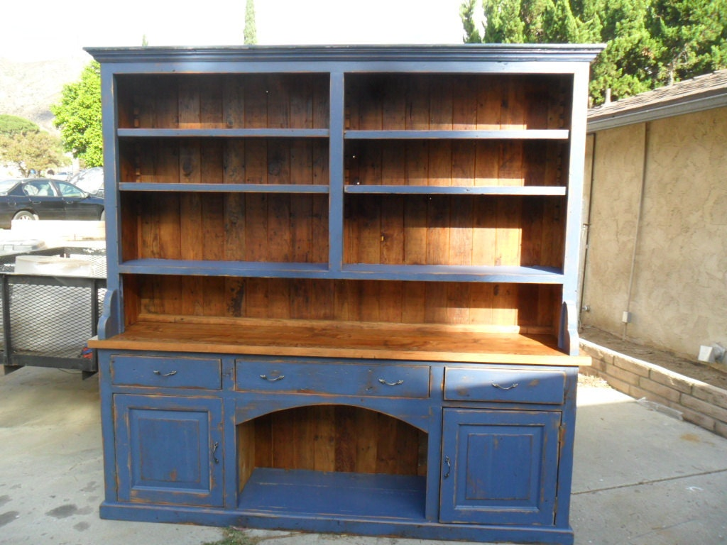 🔎zoom - Reclaimed Wood Pine Kitchen Hutch. USA Made.