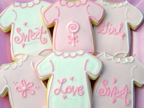 Girlie Baby Shower  Sugar Cookies - 12 count