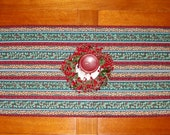 CLEARANCE - SALE - Quilted Striped Table Runner - Holly and Bells - Reversible - Christmas