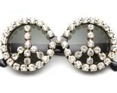 Sienna Peace Sign Rhinestone Round Sunglasses (Crystal/Black)