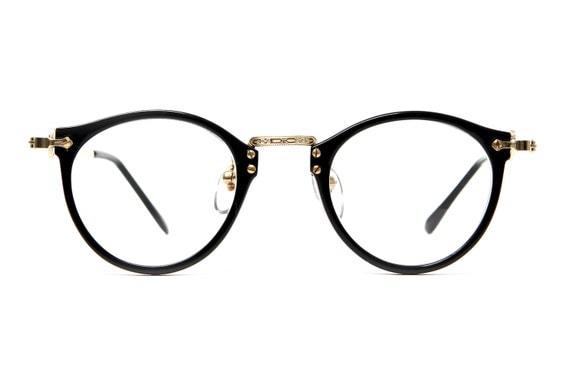 80's Vintage - James Keyhole Rounded Wayfarer Clear Lens Glasses (Black/Gold)