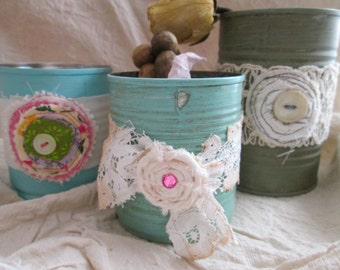 A set of 3 embellished tin cans, pencil holders, paint brush holders, business card holders