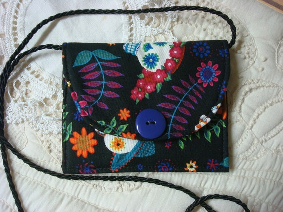 neck wallet, travel pouch, micro purse, ipod holder, black, skulls, fiesta de los muertos