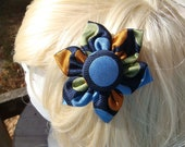"Navy Blue Silk ""Big Circles"" Hair Clip/Pin"