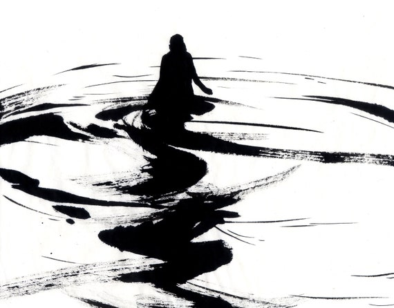 Figure Water Ink Drawing Haunting Gothic Dark Shadow Silhouette Fine Art Dissolve II