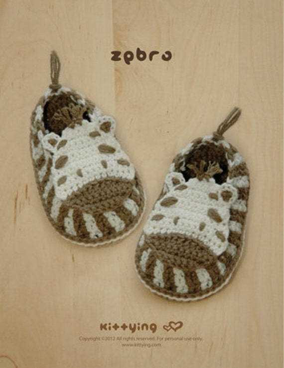 Crochet Pattern Baby Preemie Zebra Booties Crochet Pattern Zebra Slippers Zebra Baby Socks Zebra Shoes Zebra Applique  (ZB01-B-PAT)