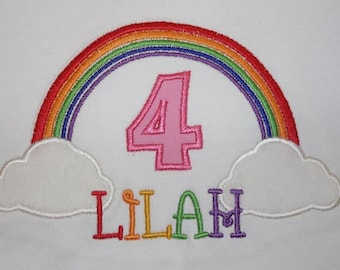 Rainbow Birthday Number Shirt or Onesie - Custom Monogrammed