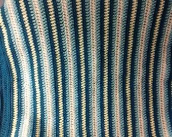 Crochet afghan  Stroller Blanket, Bassinet Blanket, Baby Nursery Blanket  lot25