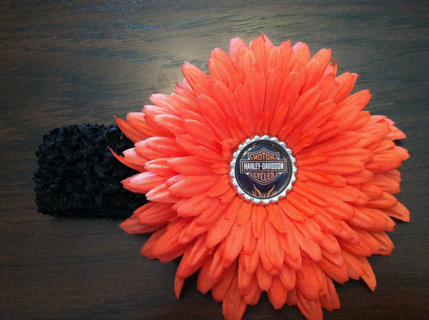 Harley davidson bottle cap flower clip by headbandsbylaylasmom for How to make bottle cap flowers
