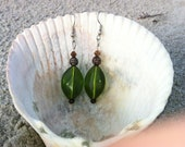 Handmade Green and Copper Bead Silver Earrings