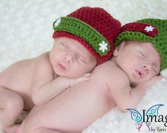 TWIN Christmas newsboy hats. Newborn baby boy Christmas photo prop newsboy hats. TWIN photo prop hats.