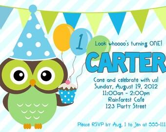 Owl Boy 1st Birthday Invitation, Printable