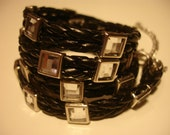 Black leather bracelet with rhinestones