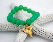 Green aventurine gemstone beaded shark tooth charm bracelet
