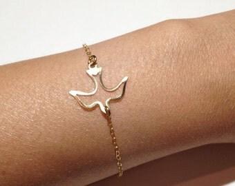14k Gold Filled Dove Bracelet - Minimalist,  Thin Gold Bracelet, Gold Chain Bracelet, Gold Bracelet